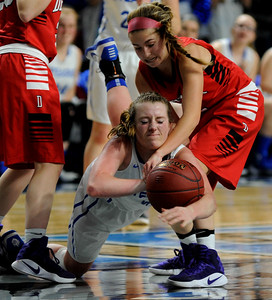 Bangor, ME — February 24, 2017 — Stearns 41 and Dexter's 15 during their class C girls semi final game at the Cross Center in Bangor Friday night. Linda Coan O'Kresik | BDN