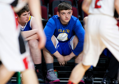 BANGOR, Maine -- 02/21/2017 -- Piscataquis' Preston Ricker watches as time runs down during their Class C boys basketball quarterfinal game against Fort Fairfield at the Cross Insurance Center in Bangor Tuesday. Ashley L. Conti | BDN
