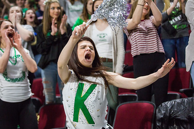BANGOR, MAINE -- 02/24/2017 -- A Schenck student screams and twirls a pom pom during a close fourth quarter of their class C boys semifinal game against Fort Fairfield at the Cross Insurance Center on Friday afternoon. Micky Bedell   BDN