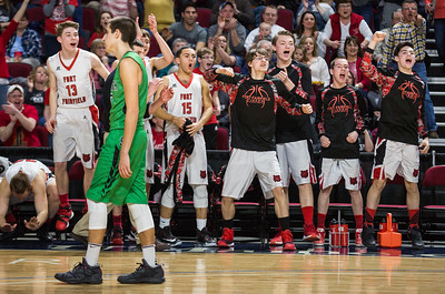 BANGOR, MAINE -- 02/24/2017 -- The Fort Fairfield bench cheers on their teammates as the clock runs down on the fourth quarter of their class C boys semifinal game against Schenck at the Cross Insurance Center on Friday afternoon. Micky Bedell | BDN