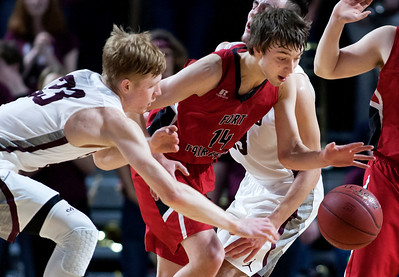 BANGOR, Maine -- 02/25/2017 -- George Stevens Academy's Maxwell Mattson (left) and Fort Fairfield's Christopher Giberson battle for a loose ball during their Class C boys basketball championship game at the Cross Insurance Center in Bangor Saturday. Ashley L. Conti   BDN
