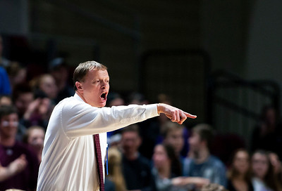 BANGOR, Maine -- 02/25/2017 -- George Stevens Academy head coach Dwayne Carter yells instructions to his team during their Class C boys basketball championship game against Fort Fairfield at the Cross Insurance Center in Bangor Saturday. Ashley L. Conti   BDN