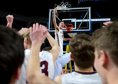 BANGOR, Maine -- 03/04/2017 -- George Stevens Academy's Jarrod Chase celebrates after defeating Winthrop during their Class C boys basketball state championship at the Cross Insurance Center in Bangor Saturday. Ashley L. Conti | BDN