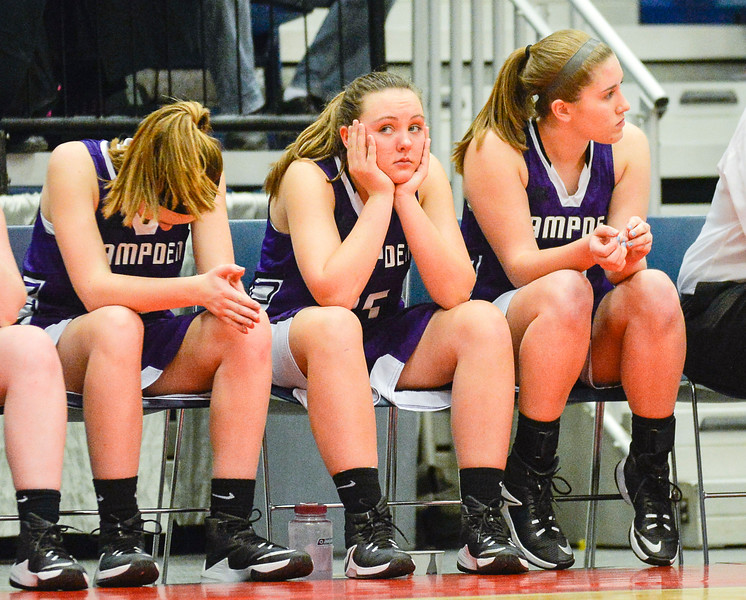 Braylee Wildman Watches the final quarter of the Class A North Semifinal Wednesday in Augusta. The Hampden Broncos lost 70-31 to the Messalonskee Eagles.