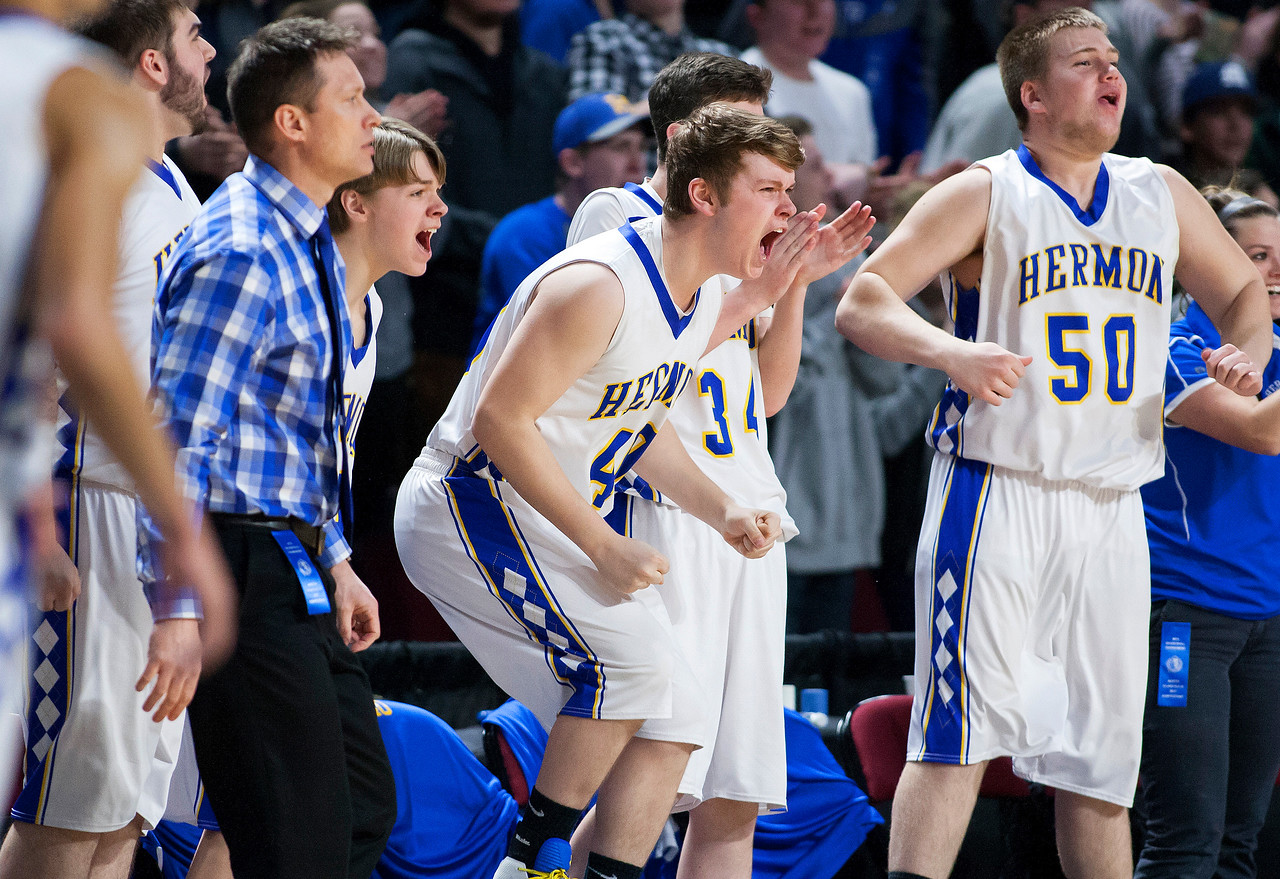 BANGOR, Maine -- 02/18/2017 -- Hermon celebrates as their team takes a late lead against Washington Academy during their Class B boys basketball quarterfinal game at the Cross Insurance Center in Bangor Saturday. Ashley L. Conti | BDN