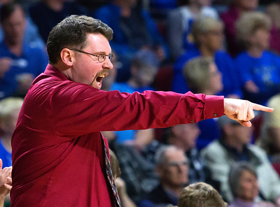BANGOR, Maine -- 02/18/2017 -- Washington Academy head coach Barry Terrill yells instructions to his team during their Class B boys basketball quarterfinal game against Hermon at the Cross Insurance Center in Bangor Saturday. Ashley L. Conti | BDN