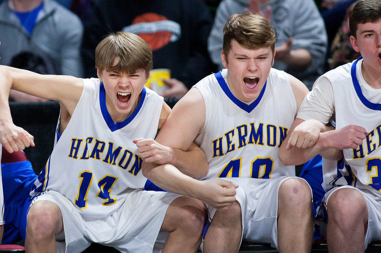 BANGOR, Maine -- 02/18/2017 -- Hermon's Michael Berube (from left) and Hermon's Dylan Leighton celebrate as their team takes the lead against Washington Academy during their Class B boys basketball quarterfinal game at the Cross Insurance Center in Bangor Saturday. Ashley L. Conti   BDN