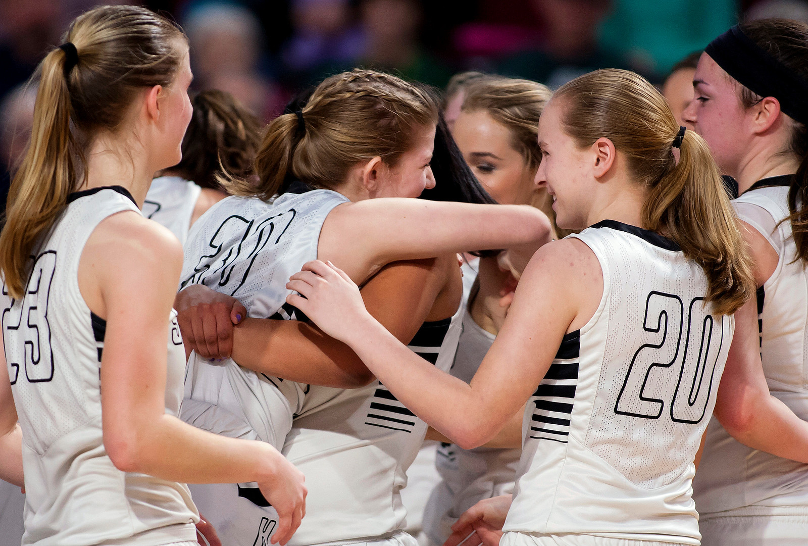 BANGOR, Maine -- 02/25/2017 -- Houlton celebrates after defeating Foxcroft Academy during their Class B girls basketball championship game at the Cross Insurance Center in Bangor Saturday. Ashley L. Conti   BDN