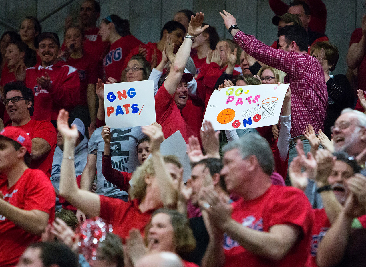 AUGUSTA, Maine -- 03/03/2017 -- Gray-New Gloucester fans cheer as their team takes the lead in the first half during their Class B girls basketball state championship against Houlton at the Augusta Civic Center in Augusta Friday. Ashley L. Conti   BDN