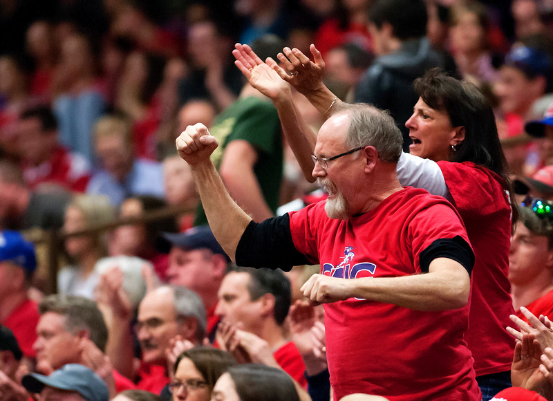 AUGUSTA, Maine -- 03/03/2017 -- Gray-New Gloucester fans cheer on their team during their Class B girls basketball state championship against Houlton at the Augusta Civic Center in Augusta Friday. Ashley L. Conti | BDN