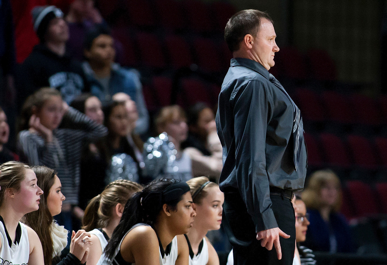 BANGOR, Maine -- 02/22/2017 -- Houlton head coach Shawn Graham reacts to a play during their Class B girls basketball semifinal game against Hermon at the Cross Insurance Center in Bangor Wednesday. Ashley L. Conti | BDN