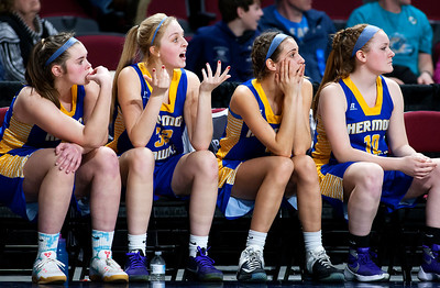 BANGOR, Maine -- 02/22/2017 -- Hermon players react to a call during their Class B girls basketball semifinal game against Houlton at the Cross Insurance Center in Bangor Wednesday. Ashley L. Conti | BDN