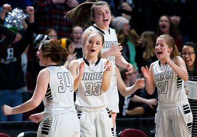 BANGOR, Maine -- 02/22/2017 -- Houlton celebrates after defeating Hermon during their Class B girls basketball semifinal game at the Cross Insurance Center in Bangor Wednesday. Ashley L. Conti | BDN
