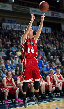 BANGOR, MAINE -- 02/22/2017 -- Central's Micha M. Ward shoots during their boys class B semifinal game against Mount Desert Island at the Cross Insurance Center in Bangor on Wednesday afternoon. Micky Bedell   BDN