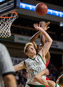 BANGOR, MAINE -- 02/22/2017 -- Mount Desert Island's Russell Kropff struggles for a rebound against Central's Dylan B. Gray during their boys class B semifinal game at the Cross Insurance Center in Bangor on Wednesday afternoon. Micky Bedell   BDN