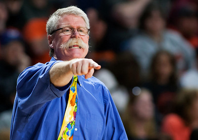 BANGOR, Maine -- 03/04/2017 -- Greenville head coach William Foley yells to his team during their Class D boys basketball state championship against Machias at the Cross Insurance Center in Bangor Saturday. Ashley L. Conti | BDN