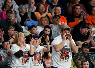 BANGOR, Maine -- 03/04/2017 -- Machias fans cheer on their team during their Class D boys basketball state championship against Greenville at the Cross Insurance Center in Bangor Saturday. Ashley L. Conti | BDN