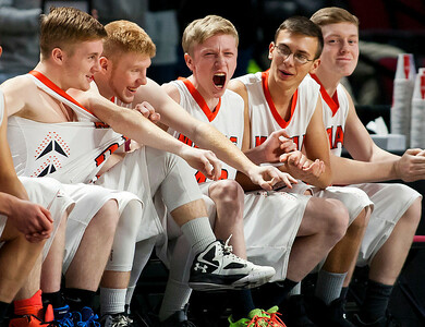 BANGOR, Maine -- 03/04/2017 -- Machias cheers after their team scored against Greenville during their Class D boys basketball state championship at the Cross Insurance Center in Bangor Saturday. Ashley L. Conti | BDN