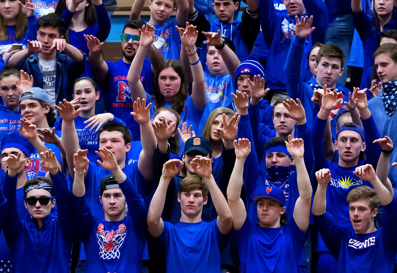 AUGUSTA, Maine -- 02/24/2017 -- Messalonskee student section send good vibes to their school during their Class A girls basketball championship game against Nokomis at the Augusta Civic Center in Augusta Friday. Ashley L. Conti | BDN