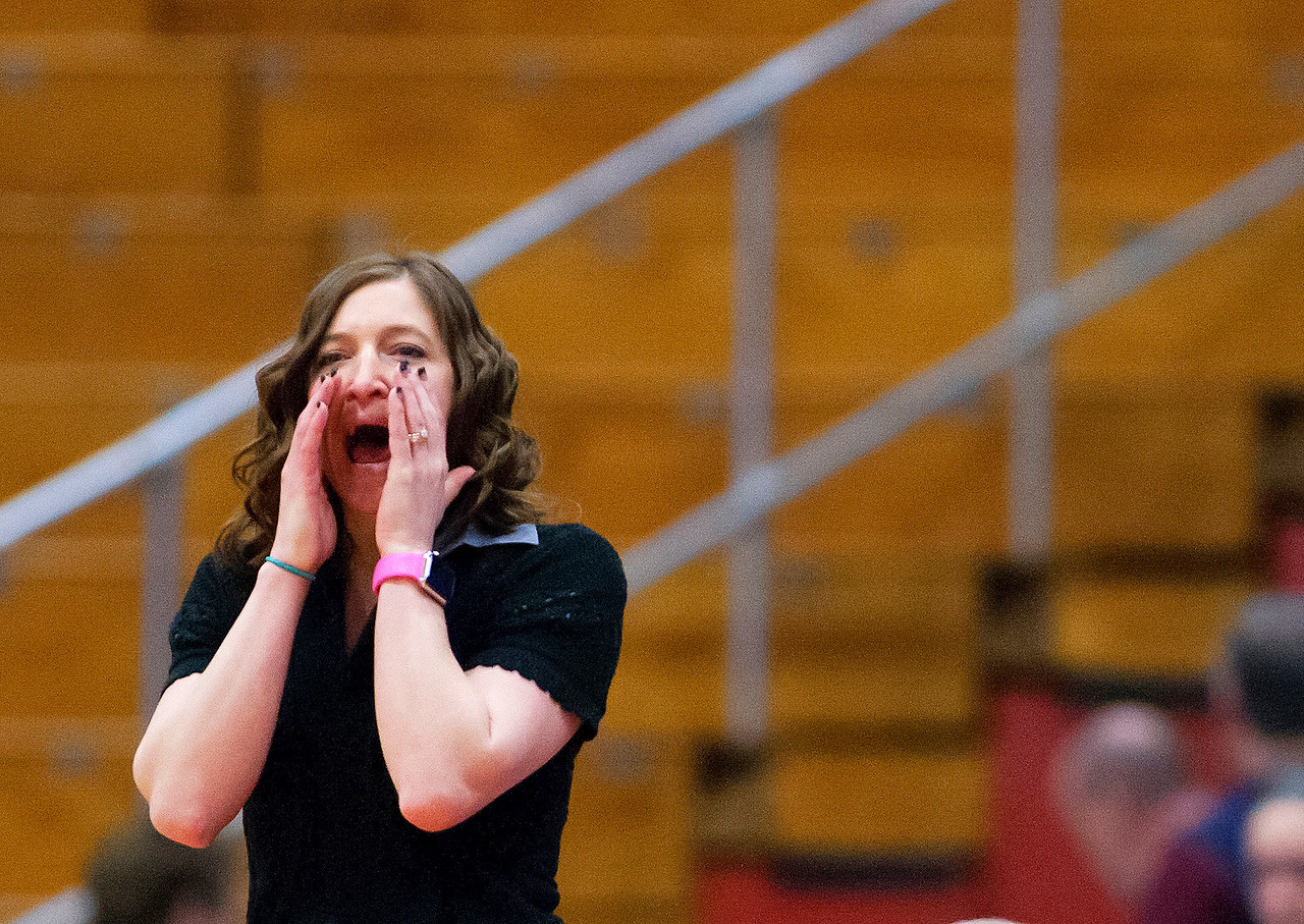 AUGUSTA, Maine -- 02/24/2017 -- Nokomis head coach Michelle Paradis yells instructions to her team during their Class A girls basketball championship game against Messalonskee at the Augusta Civic Center in Augusta Friday. Ashley L. Conti | BDN
