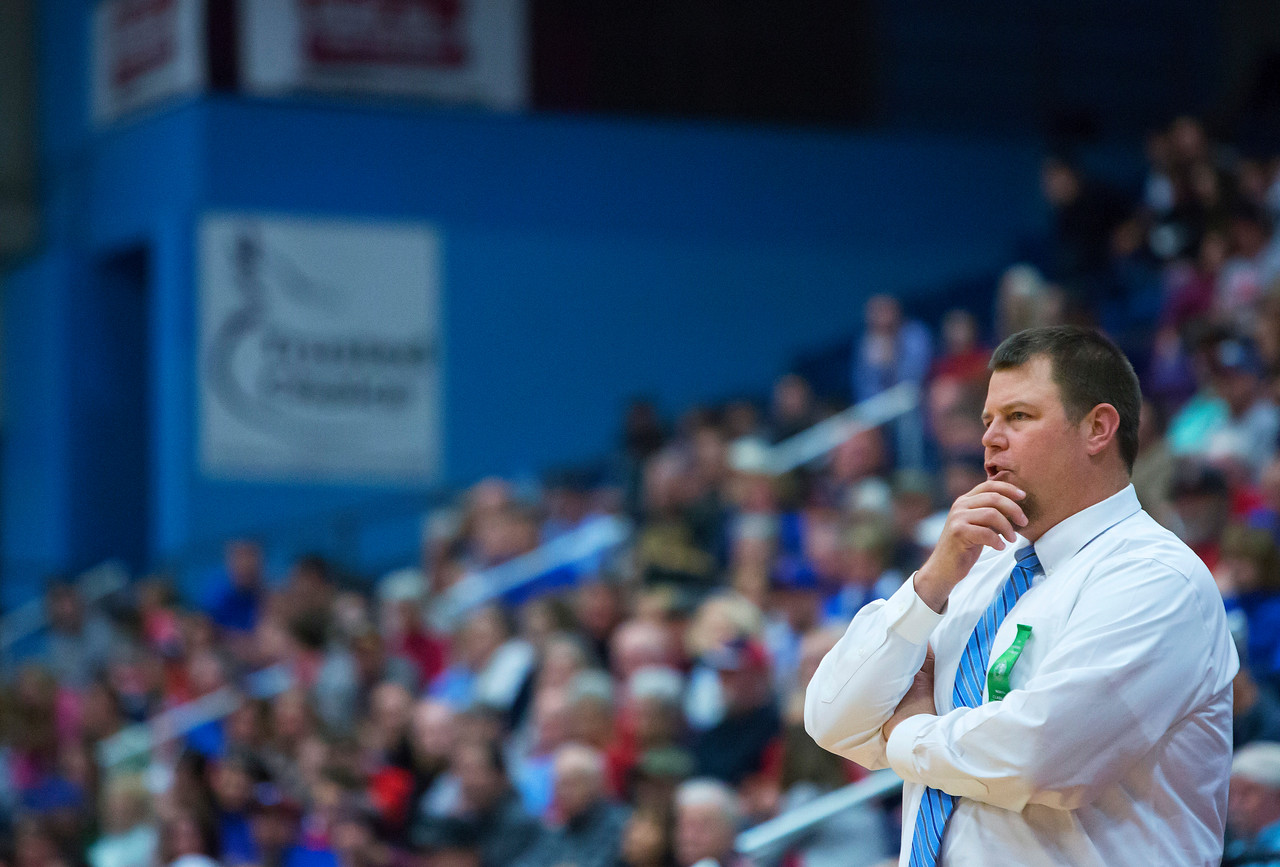 AUGUSTA, Maine -- 02/24/2017 -- Oceanside head coach Matt Breen watches as his team takes on Messalonskee during their Class A boys basketball championship game at the Augusta Civic Center in Augusta Friday. Ashley L. Conti | BDN