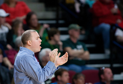 BANGOR, Maine -- 02/25/2017 -- Orono head coach Jason Coleman yells instructions to his team during their Class B boys basketball championship game against Mount Desert Island at the Cross Insurance Center in Bangor Saturday. Ashley L. Conti   BDN