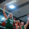AUGUSTA, Maine -- 03/03/2017 -- Mount Desert Island's Riley Swanson (left) and Mount Desert Island's MacLean Shea celebrate after defeating Wells during their Class B boys basketball state championship at the Augusta Civic Center in Augusta Friday. Ashley L. Conti   BDN
