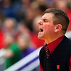 AUGUSTA, Maine -- 03/03/2017 -- Wells head coach Troy Brown yells at his team during their Class B boys basketball state championship against Mount Desert Island at the Augusta Civic Center in Augusta Friday. Ashley L. Conti   BDN