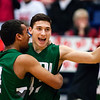 AUGUSTA, Maine -- 03/03/2017 -- Mount Desert Island's Owen Mild (left) celebrates with Mount Desert Island's Devin M. Parlatore after defeating Wells during their Class B boys basketball state championship at the Augusta Civic Center in Augusta Friday. Ashley L. Conti | BDN