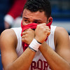 AUGUSTA, Maine -- 03/03/2017 -- Wells' Deandre Woods sits with tears in his eyes after being defeated by Mount Desert Island during their Class B boys basketball state championship at the Augusta Civic Center in Augusta Friday. Ashley L. Conti   BDN