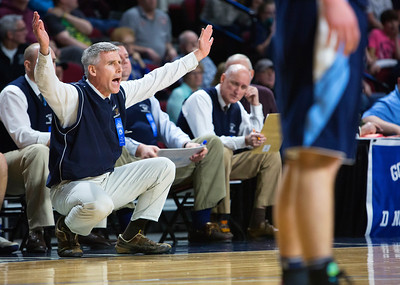 BANGOR, Maine -- 02/18/2017 -- Presque Isle head coach Terry Cummings yells instructions to his team during their Class B boys basketball quarterfinal game against Orono at the Cross Insurance Center in Bangor Saturday. Ashley L. Conti | BDN