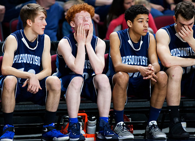 BANGOR, Maine -- 02/18/2017 -- Presque Isle players watch as time runs down during their Class B boys basketball quarterfinal game against Orono at the Cross Insurance Center in Bangor Saturday. Ashley L. Conti | BDN