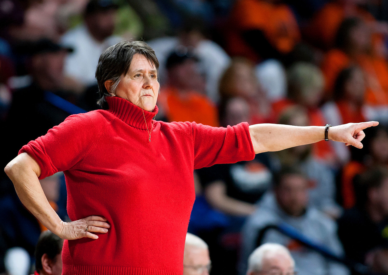 BANGOR, Maine -- 03/04/2017 -- Vinalhaven head coach Sandy Nelson points out where she wants her players during their Class D girls basketball state championship against Shead at the Cross Insurance Center in Bangor Saturday. Ashley L. Conti   BDN