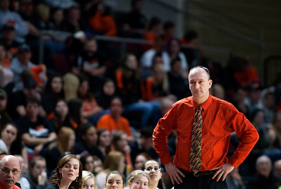 BANGOR, Maine -- 03/04/2017 -- Shead head coach Dean Preston watches his team take on Vinalhaven during their Class D girls basketball state championship at the Cross Insurance Center in Bangor Saturday. Ashley L. Conti | BDN