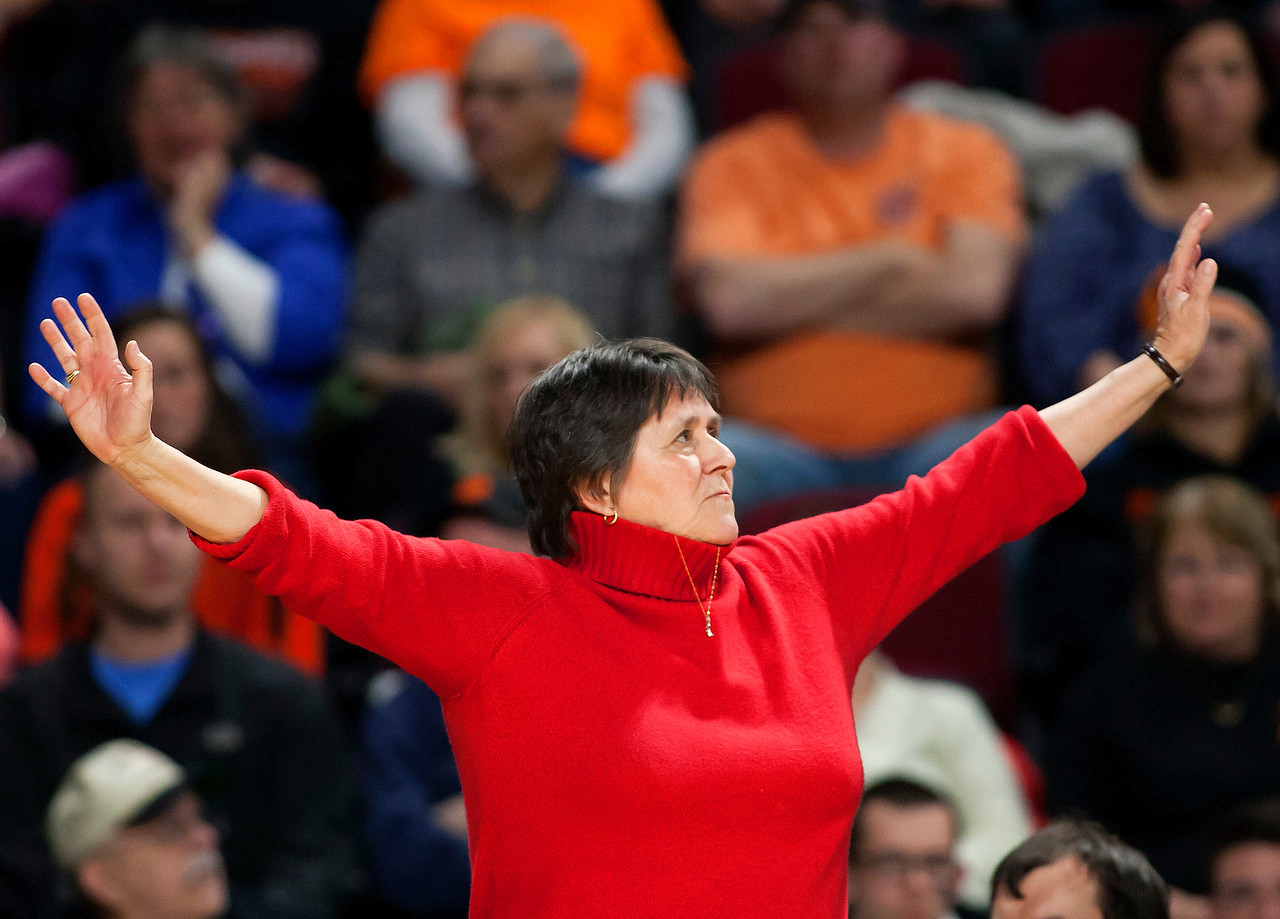 BANGOR, Maine -- 03/04/2017 -- Vinalhaven head coach Sandy Nelson looks to the scoreboard as time is about to expire during their Class D girls basketball state championship against Shead at the Cross Insurance Center in Bangor Saturday. Ashley L. Conti | BDN