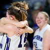 BANGOR, Maine -- 02/23/2017 -- Southern Arroostook's Makaelyn Porter (left) celebrates with Kacy Daggett after defeating Easton during their Class D girls basketball semifinal game at the Cross Insurance Center in Bangor Thursday. Ashley L. Conti | BDN
