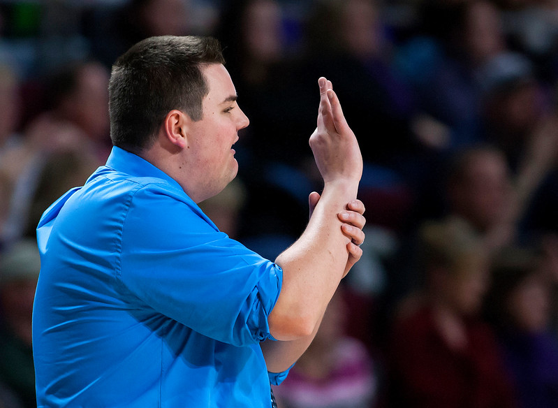 BANGOR, Maine -- 02/23/2017 -- Easton head coach Bryan Shaw yells out a play during their Class D girls basketball semifinal game against Southern Arroostook at the Cross Insurance Center in Bangor Thursday. Ashley L. Conti | BDN