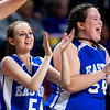 BANGOR, Maine -- 02/23/2017 -- Easton's Delaney Leach (left) and Easton's Paige Flewelling cheer on their team during their Class D girls basketball semifinal game against Southern Arroostook at the Cross Insurance Center in Bangor Thursday. Ashley L. Conti | BDN