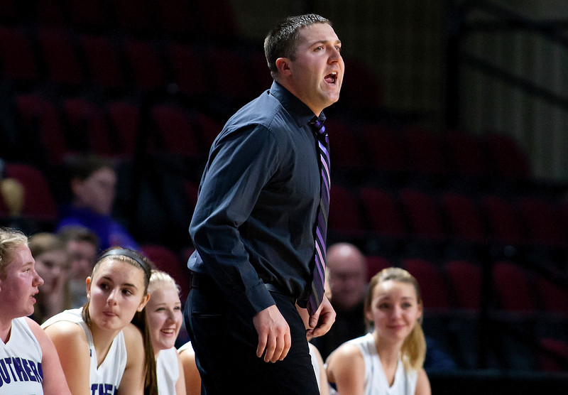 BANGOR, Maine -- 02/23/2017 -- Southern Arroostook head coach Cliff Urquhart yells instructions to his team during their Class D girls basketball semifinal game against Easton at the Cross Insurance Center in Bangor Thursday. Ashley L. Conti | BDN