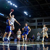 BANGOR, Maine -- 02/23/2017 -- Southern Arroostook's Jackson Mathers (second from left) flies in past Central Aroostook's Brayden Bradbury for two during their Class D boys basketball semifinal game at the Cross Insurance Center in Bangor Thursday. Ashley L. Conti | BDN