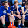 BANGOR, Maine -- 02/23/2017 -- Central Aroostook sits dejected as time expires during their Class D boys basketball semifinal game against Southern Arroostook at the Cross Insurance Center in Bangor Thursday. Ashley L. Conti | BDN