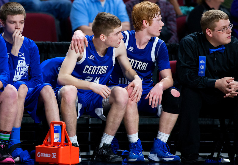 BANGOR, Maine -- 02/23/2017 -- Central Aroostook's Ben Thomas (right) confronts teammate Caleb Harris as time expires during their Class D boys basketball semifinal game against Southern Arroostook at the Cross Insurance Center in Bangor Thursday. Ashley L. Conti | BDN