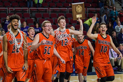 BANGOR, MAINE -- 02/25/2017 -- Machias celebrates their class D boys basketball championship win against Southern Aroostook on Saturday morning at the Cross Insurance Center in Bangor. Micky Bedell | BDN