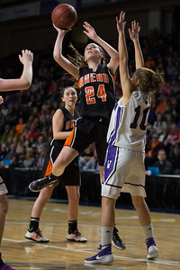 BANGOR, MAINE -- 0225/2017 -- Shead's Madison Greenlaw (center) goes to shoot as Southern Aroostook's Kylie Vining blocks during their class D girls championship game on Saturday morning at the Cross Insurance Center in Bangor. Micky Bedell | BDN