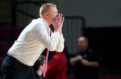 BANGOR, Maine -- 02/17/2017 -- Central head coach Riley Donovan yells instructions to his team during their Class B boys basketball quarterfinal game against Winslow at the Cross Insurance Center in Bangor Friday. Ashley L. Conti | BDN