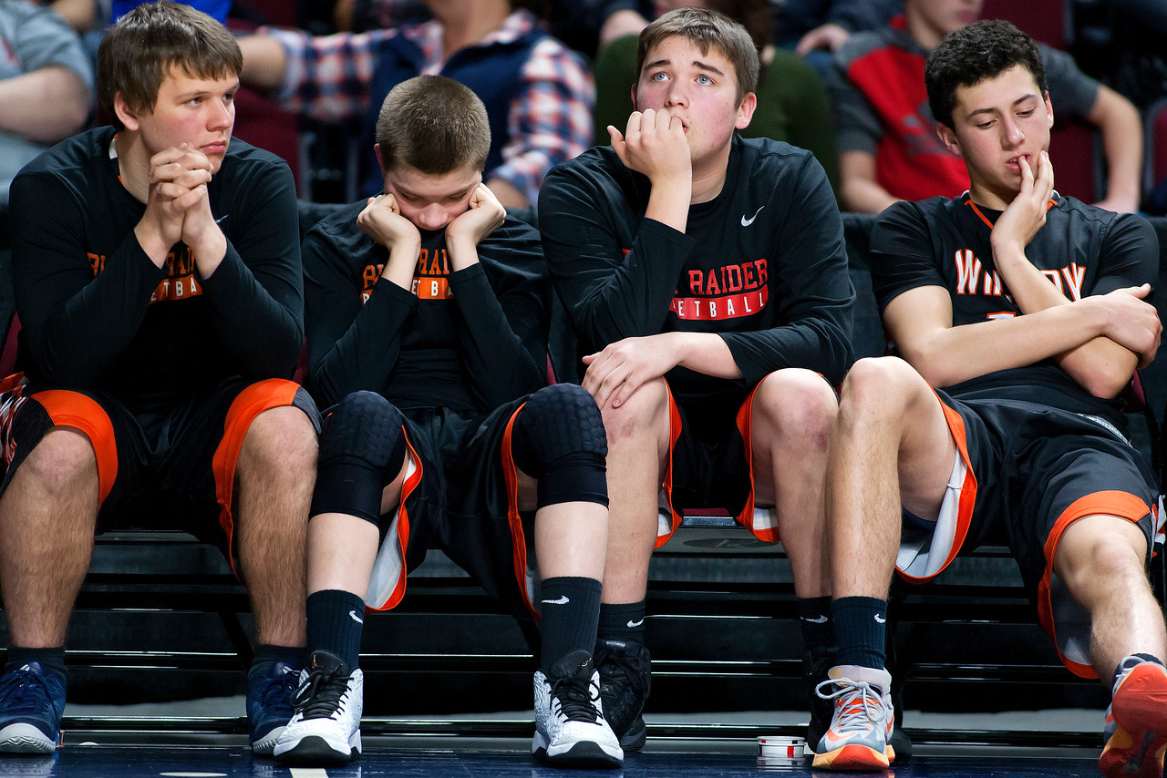 BANGOR, Maine -- 02/17/2017 -- Winslow's bench sits dejected as time starts to run out during their Class B boys basketball quarterfinal game against Central at the Cross Insurance Center in Bangor Friday. Ashley L. Conti   BDN