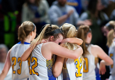 BANGOR, Maine -- 02/18/2017 -- Hermon's Madisyn Curtis (left) celebrates with Hermon's Maddie Pullen after defeating Winslow during their Class B girls basketball quarterfinal game at the Cross Insurance Center in Bangor Saturday. Ashley L. Conti | BDN