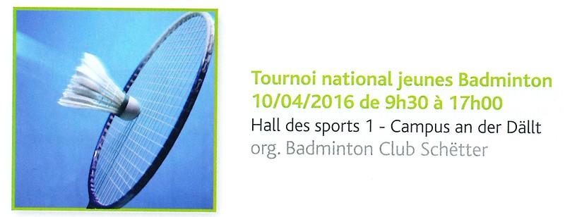 Tournoi National Jeunes Badminton - BC Schëtter