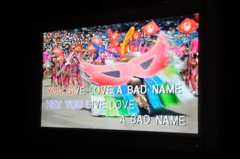 "OK, this had to be the weirdest disconnect between song and background video of them all.  The song, obviously, was Bon Jovi's ""You Give Love A Bad Name,"" but the background video was some sort of African dance festival.  WTF?!?"