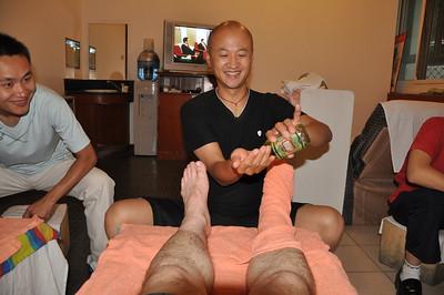 Nothing makes massaging hairy legs easier than applying some oil!